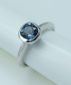 Silver Rings - 6mm Cushion Cut London Blue Topaz