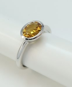 Silver Rings - 8x6mm Oval Tube Set Citrine