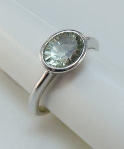 Silver Rings - 8x6mm Oval Tube Set Green Amethyst