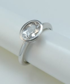 Silver Rings - 8x6mm Oval Tube Set Silver Topaz