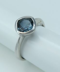 Silver Rings - 7mm Cushion Cut London Blue Topaz