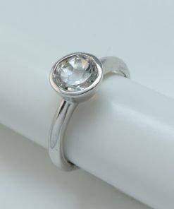 Silver Rings - 7mm Tube Set Silver Topaz