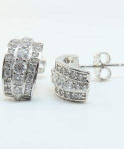 Silver Hoop Earrings - 13mm Cubic Zirconia