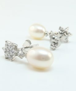 Silver Drop Earrings - 21mm Cubic Zirconia and Freshwater Pearl