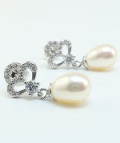 Silver Drop Earrings - 22mm Cubic Zirconia and Freshwater Pearl