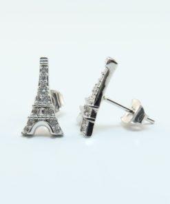 Silver Stud Earrings - 13mm Cubic Zirconia Eiffel Tower