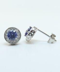 Silver Stud Earrings - 8mm Blue Cubic Zirconia Halo