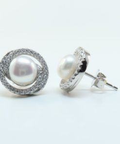 Silver Stud Earrings - 12mm Cubic Zirconia and Freshwater Pearl