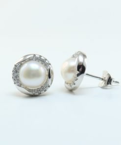 Silver Stud Earrings - 10mm Cubic Zirconia and Freshwater Pearl