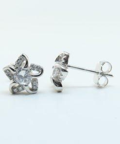 Silver Stud Earrings - 9mm Cubic Zirconia Flower