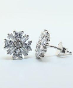 Silver Stud Earrings - 9.5mm Cubic Zirconia Cluster