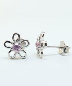 Silver Stud Earrings - 9.5mm Pink Cubic Zirconia Flower