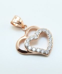 Silver Pendants - 21mm Rose Gold Plated Cubic Zirconia Double Heart