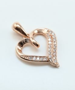 Silver Pendants - 15mm Rose Gold Plated Cubic Zirconia Heart