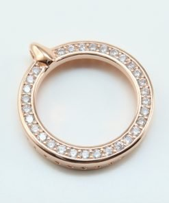 Silver Pendants - 20mm Rose Gold Plated Cubic Zirconia Circle