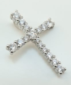 Silver Pendants - 27mm Cubic Zirconia Cross