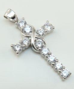 Silver Pendants - 27mm Cubic Zirconia Infinity Cross