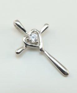 Silver Pendants - 26mm Cubic Zirconia Heart Cross