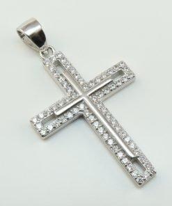Silver Pendants - 25mm Cubic Zirconia Cross