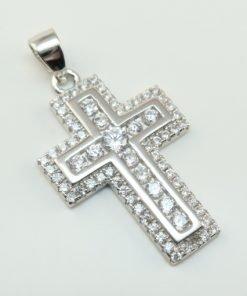 Silver Pendants - 23mm Cubic Zirconia Cross