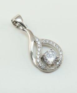 Silver Pendants - 20mm Cubic Zirconia Drop