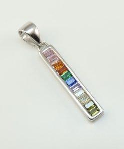 Silver Pendants - 20mm Multi Colour Cubic Zirconia Bar