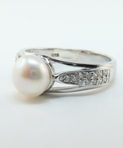 Silver Rings - 8mm Freshwater Pearl and Cubic Zirconia