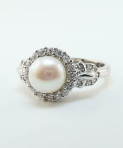 Silver Rings - 7mm Freshwater Pearl and Cubic Zirconia