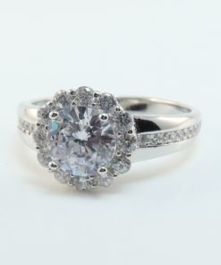 Silver Rings - 11mm Cubic Zirconia Halo