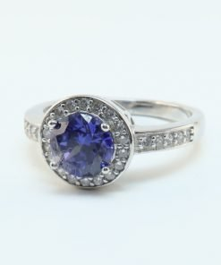 Silver Rings - 10mm Blue Cubic Zirconia Halo
