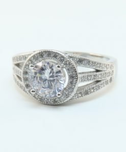 Silver Rings - 7mm Cubic Zirconia Halo
