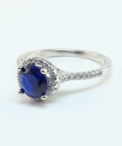Silver Rings - 8mm Blue Cubic Zirconia Halo