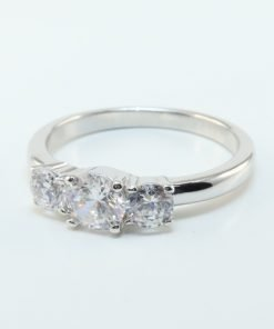 Silver Rings - 5mm Cubic Zirconia Trilogy