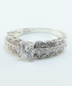 Silver Rings - 5mm Cubic Zirconia Scalloped Ring