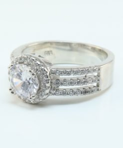 Silver Rings - 10mm Cubic Zirconia Halo