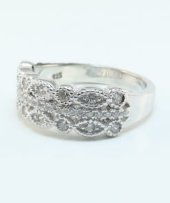 Silver Rings - 7mm Scalloped Cubic Zirconia